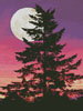 Tree Silhouette at Dusk - (Facebook Group) Cross Stitch Chart