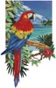 Tropical Scarlet Macaw - Cross Stitch Chart