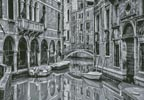 Venice Canal Black and White (Large) - Cross Stitch Chart
