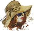 Woman in Sun Hat 1 - Cross Stitch Chart