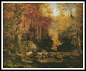 Woodland Interior with Rocky Stream - Cross Stitch Chart