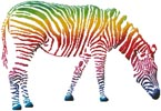 Zebra with Colourful Stripes - Cross Stitch Chart